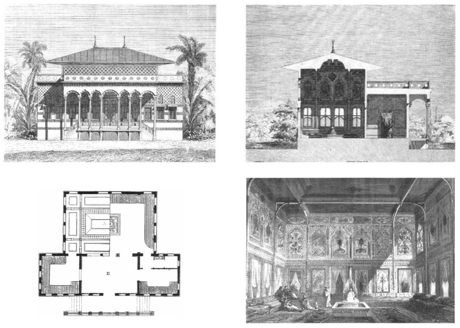 1867 Paris Bosphore Pavillion Boğaziçi Köşkü Plan Kesit Cephe Ve İç Dekorasyon