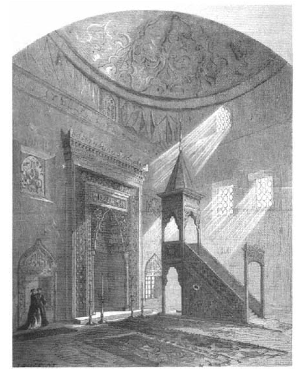 1867 Paris Fuarında Sergilenen Bursa Yeşil Cami'nin Kopyası Olan Cami'nin Içinden Bir Görünüm