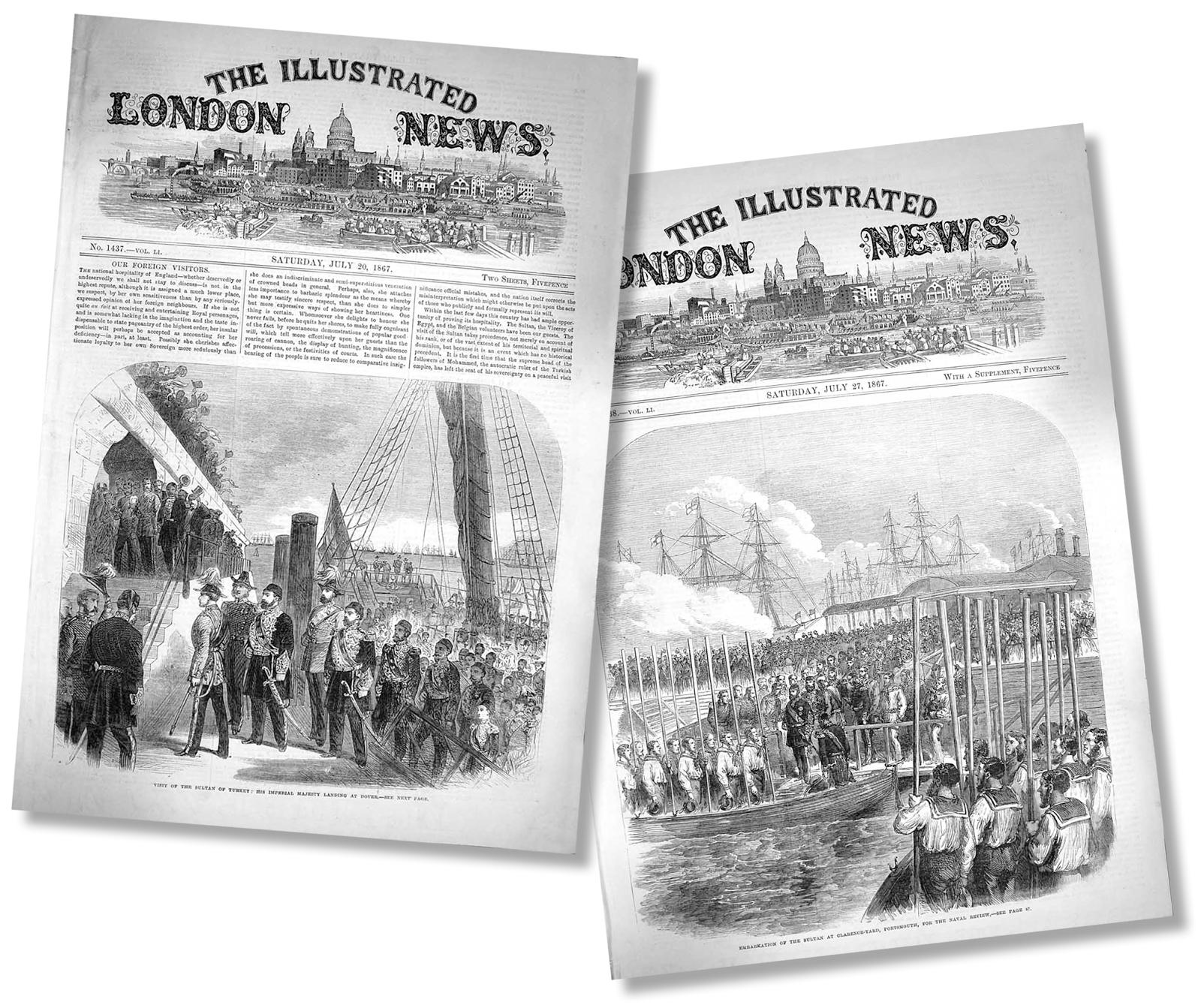 Sultan Aziz Londra Da. Sultan Abdülazizin Londra Ziyareti Sırasında. Londra Gazeteleri De Bu Ziyarete Fazlaca Ilgi Göstermişti. 20 Ve 27 Temmuz 1867 Tarihli The Illustrated